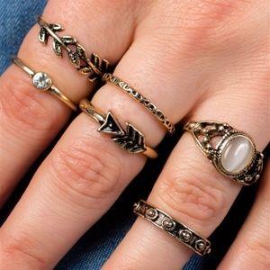Jewelry - BRONZE & GOLD TEXTURED METALLIC RING SET
